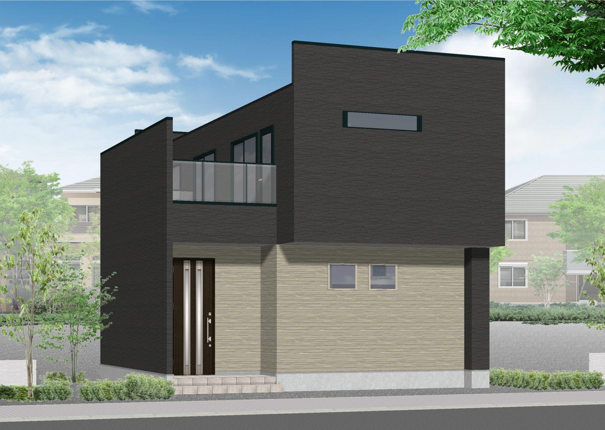 外観はオーバーハングやビックバルコニー、パラペットなどで整えます。宅盤は高めに設定しており側溝+1268㎜の床FLで設計。