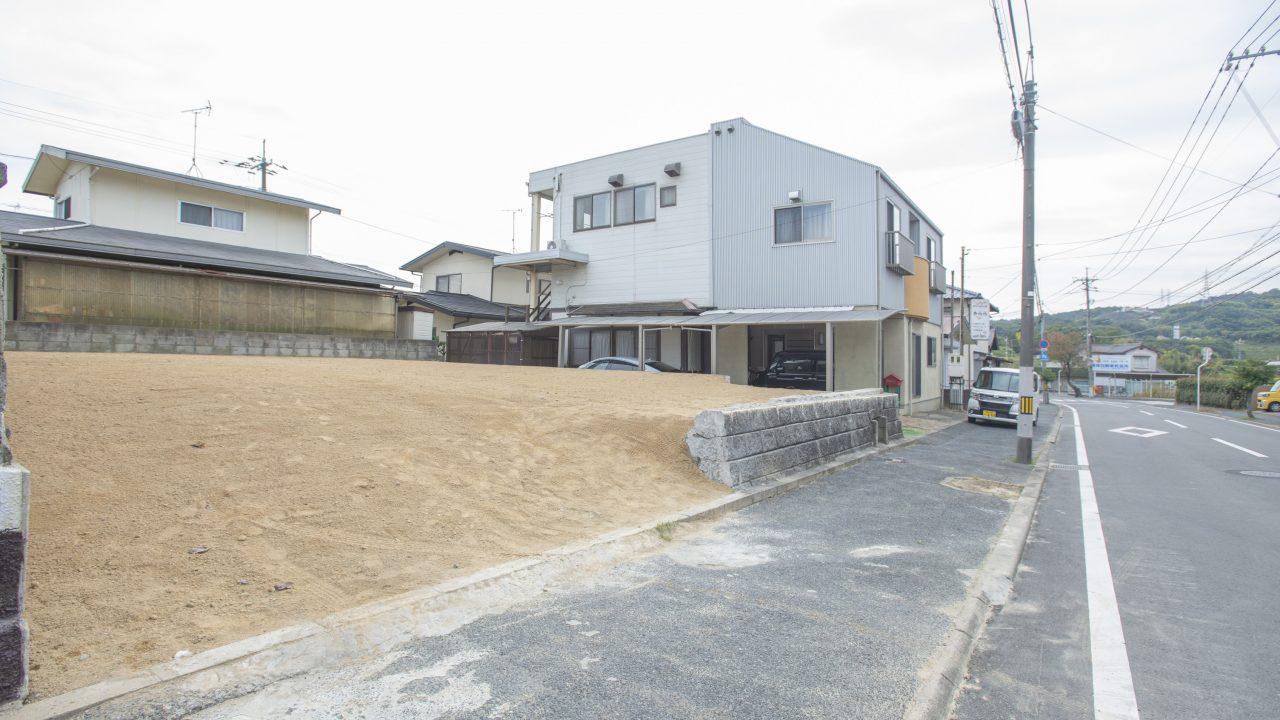 『倉敷市庄新町』庄パーク内入り口付近で標高はいい塩梅。建築条件無!